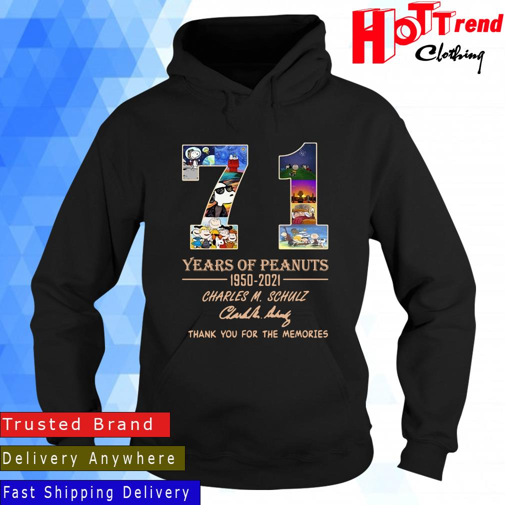71 years of Peanuts 195-2021 Charles M Schulz thank you for the memories signature Hoodie