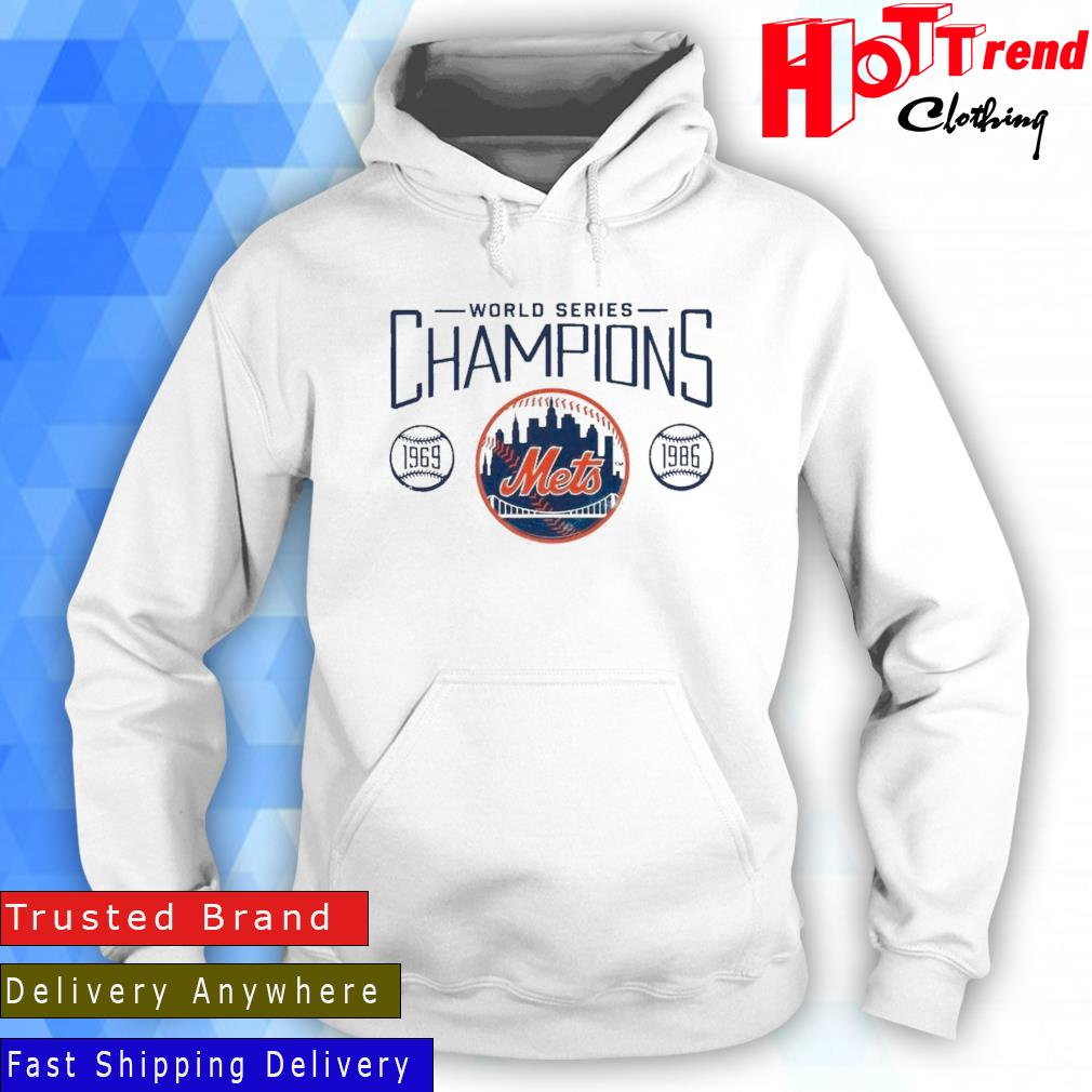 New York Mets Fanatics Branded Royal 1986 World Series 35th Anniversary Charge The Mound Shirt Hoodie